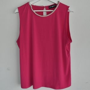 Karl Lagerfeld pink beaded and chain shell top